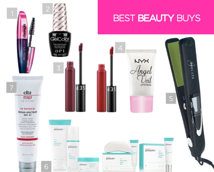 best beauty products - l'oreal manga mascara, OPI GelColor, Sephora Collection Lip Stain, NYX Angel Veil Primer, Brocato Vibrastrait Flat Iron, Proactiv+, EltaMD Sunscreen