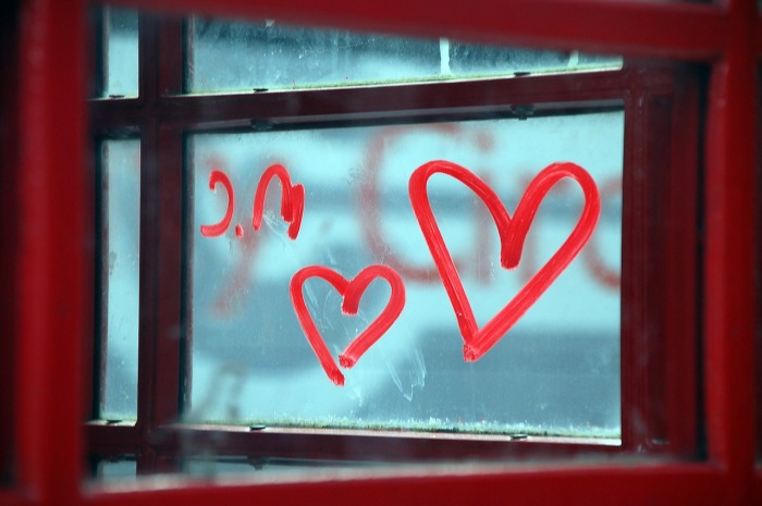 hearts on a window