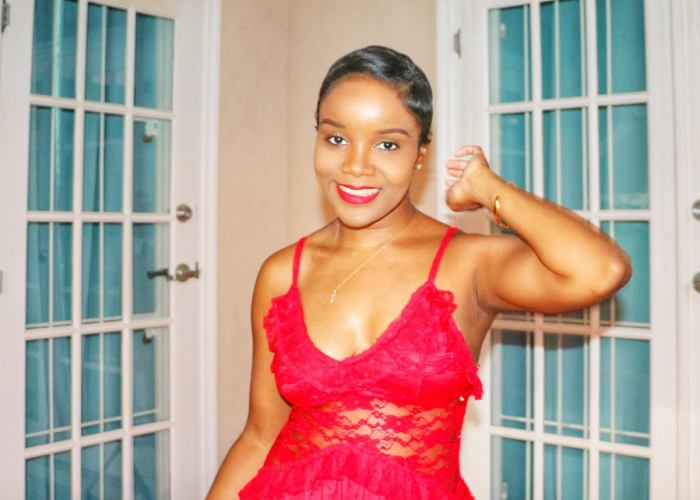 black woman in red dress